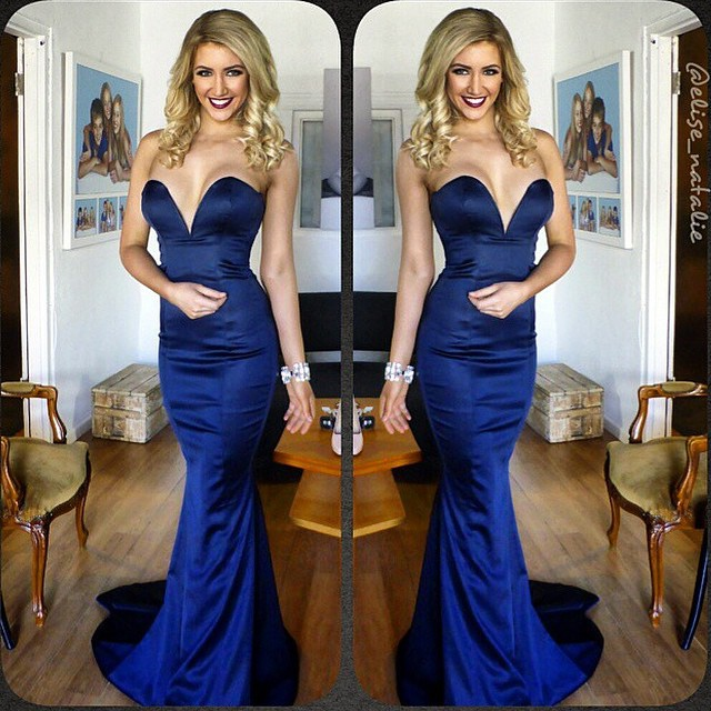Simple And Elegant White Satin Sweetheart With Jacket: Elegant Sweetheart Dark Navy Blue Prom Evening Gown