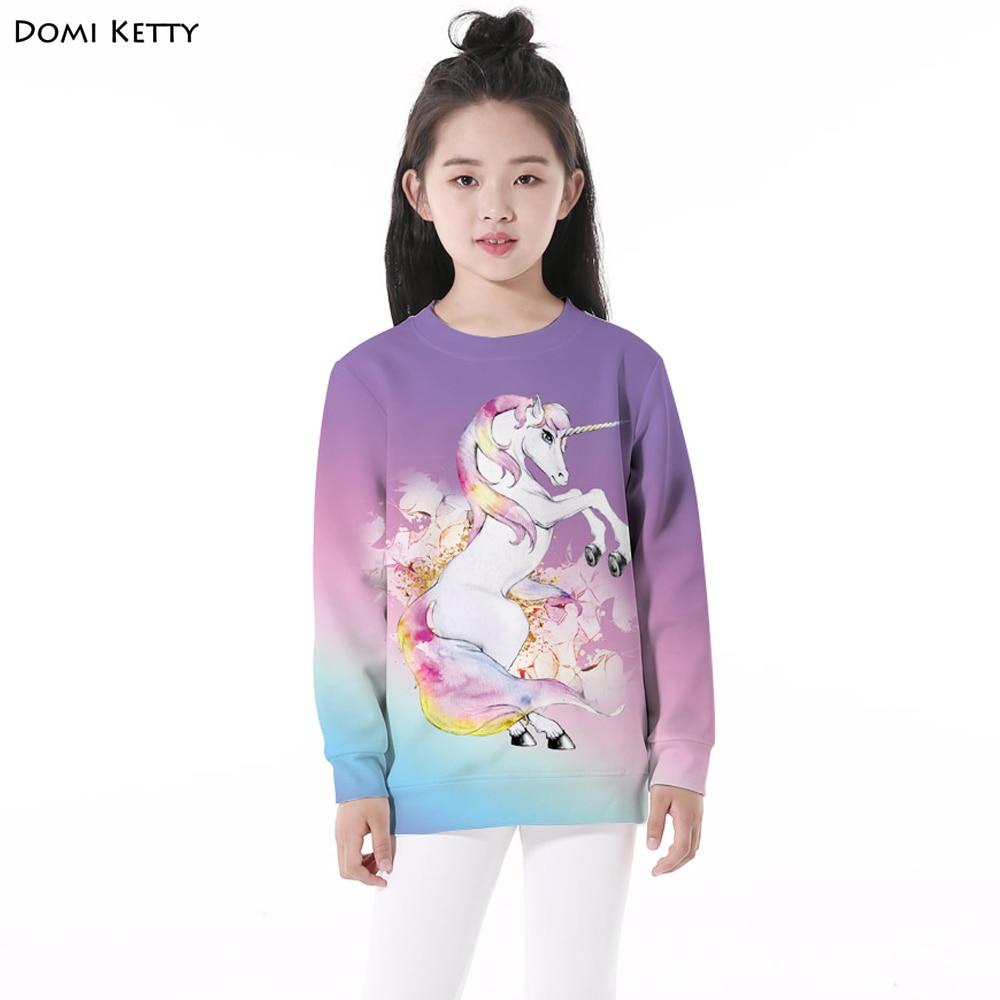 все цены на Domi Ketty children cartoon hoodies print white horse cute girls boys casual long sleeve sweatshirts kids pullover clothes