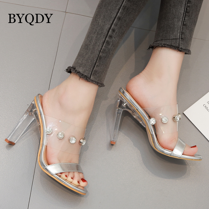 BYQDY 2019 Summer Women White Sandals Female Sexy Crystal Transparent High Heels Rhinestone Sandals sapato feminino sewing in High Heels from Shoes