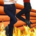 Winter Long Women Jeans Pants Woman Stretch  High Waist Button Fleece Jeans Women's Warm Wool Skinny Pencil Jeans Plus Size