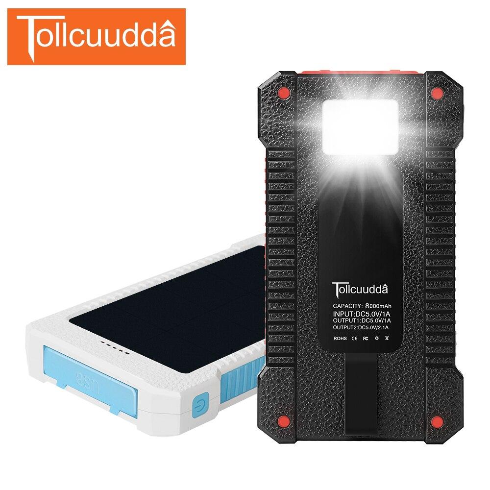 TOLLCUUDDA 8000mAh Solar Powerbank Outdoor External <font><b>Battery</b></font> Mobile Solar Charger Portable Poverbank Universal for <font><b>Cellphone</b></font>