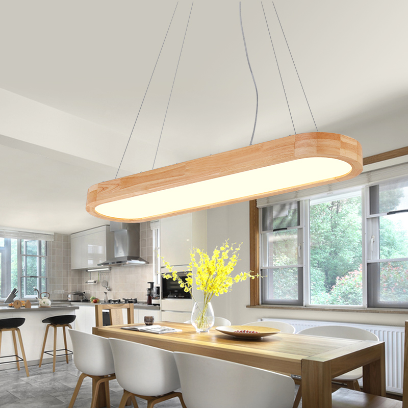 Nordic Pendant Lights Solid Wood Simple Modern Lighting Home Rectangular Office Dining Room Japanese LED Acrylic