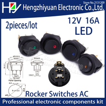 цена на 2pcs SPST Switch 3 pins ON-OFF Rocker Switch 12V led rocker switch Led Dot Light LED illuminated Car Dashboard Dash Boat Toggle