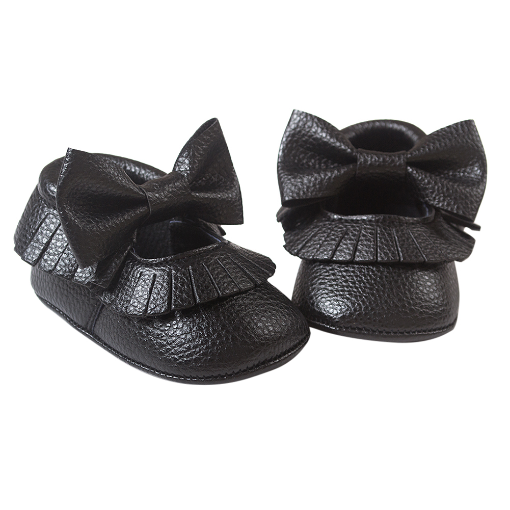 HOT SALE ROMIRUS Baby Moccasins Soft Bottom Butterfly-knot Baby Shoes Tassels Baby Prewalkers Shoes Black 13cm