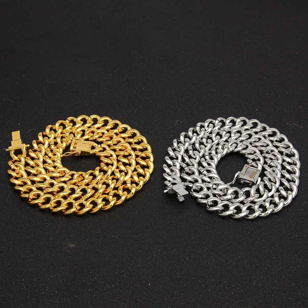 Miami Curb kubański naszyjnik łańcuch dla mężczyzn złoto srebro Hip Hop Iced Out betonowa cyrkonie CZ raper długi naszyjnik bransoletka biżuteria