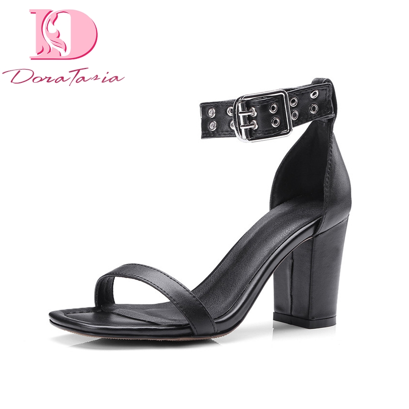 Doratasia Brand Shoes Genuine Leather Ankle Strap Solid Square High Heels Shoes Woman Sexy Summer Sandals Big Size 33-41 lapolaka new women s genuine leather square med heels ankle strap solid shoes woman casual summer sandals big size 33 40