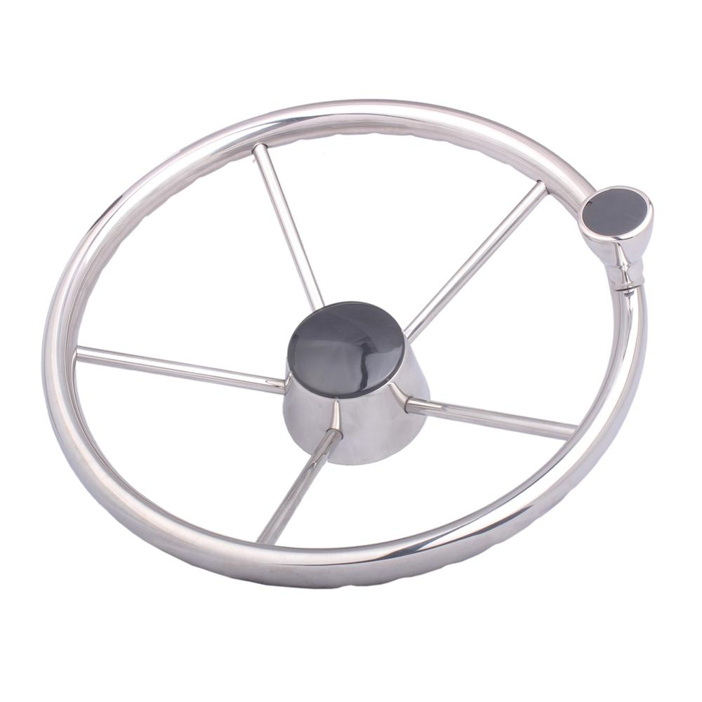 Boat Accessories Marine 13.5 Inch 5 Spoke Stainless Steel Mirror Polished Marine Boat Yacht Steering Wheel  With Control Knob