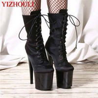 Party Shoes Motorcycle Boots 20cm Stiletto Boots 8 Inch Platform Black Sexy Ankle Boots