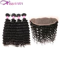 Brazilian Deep Wave 3/4 Bundles with 13*4 Frontal Closure 100% Human Hair Bundles with Closure Miss Cara Remy Hair Weaves