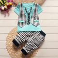 2016 Infant clothes toddler children summer baby boys clothing sets cartoon 2pcs lattice clothes sets boys summer set