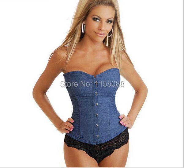Jeans Corselet Plus Size roupas femininas Sexy azul Denim espartilho com laço Thong Corset Tops para desgastar