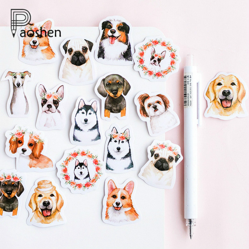 46 Pcs/box Cute Dog Stickers Stationery Creative DIY Diary Scrapbook Decoration Sticker Pack Kawaii Papeleria Notebook Stikcers