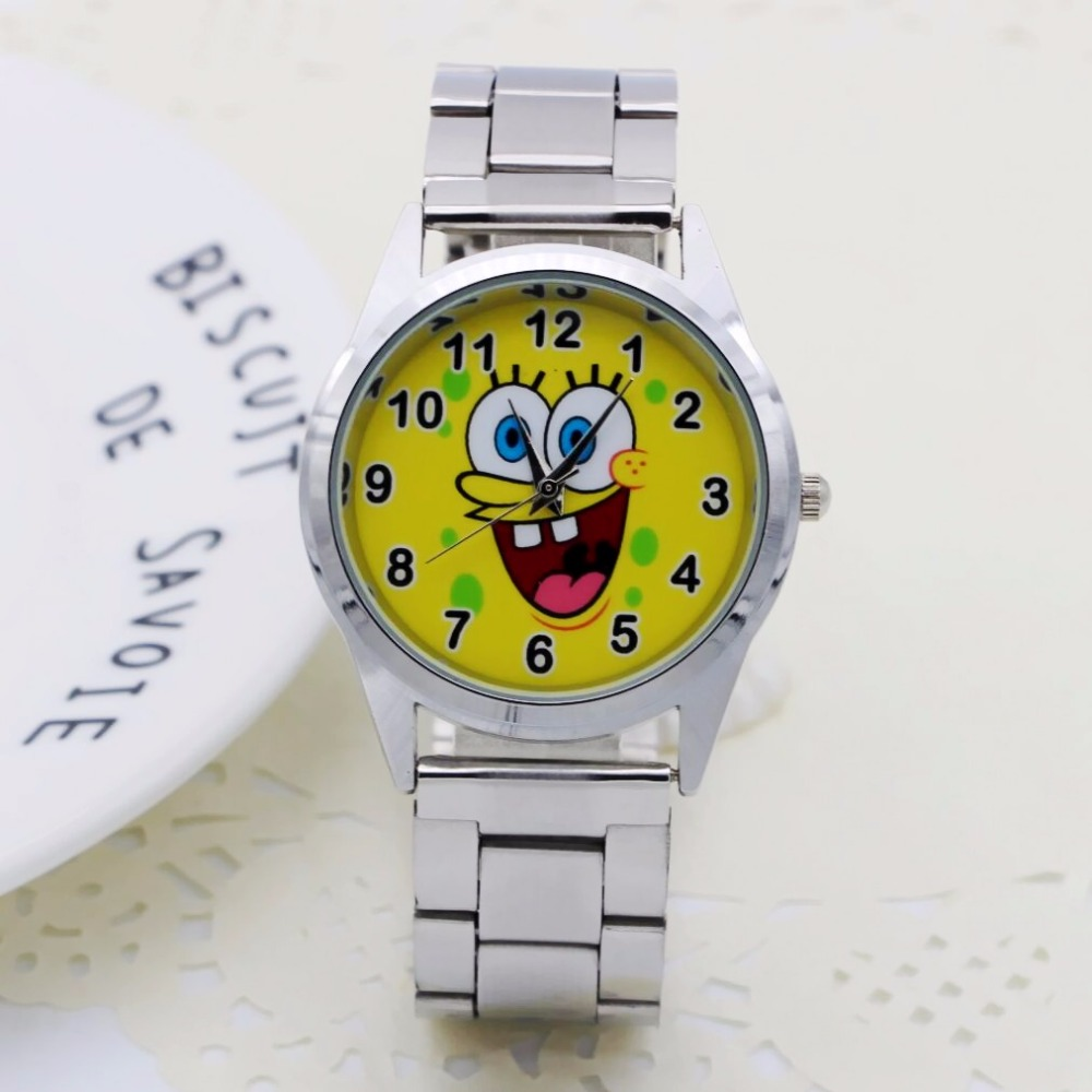 NEW Cute Cartoon Pretty SpongeBob Style Children's Watches Women's Student Girls Boys Quartz Metal Steel Wrist Watch