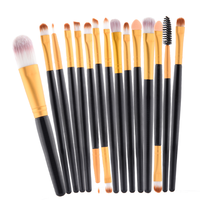 pro  15 pcs/Sets Make Up Brush Set Eye Shadow Foundation Eyebrow Lip Brush Makeup Brushes Tools Cosmetic Kits for  makeup new mini portable make up brush set connectable type eye shadow brush with box eye shadow tools 4pcs set makeup cosmetic brushes