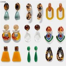 Canner Vintage Long Resin Drop Earrings For Women Girl Jewelry Boho Acrylic Big Dangle boucle doreille femme 2019