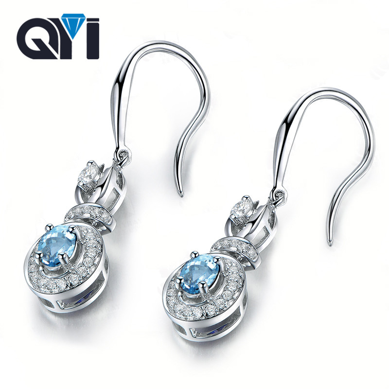 QYI 1 ct Oval Cut Sky Blue Topaz Dangle Earrings 925 Sterling Silver Gemstone Earrings for Women Engagement Anniversary