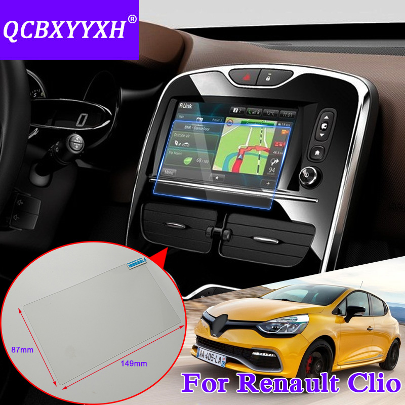 QCBXYYXH Car Styling 7 inch GPS Navigation Screen Glass Protective Film For Renault Clio RS Dashboard Display Protective Film
