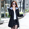 Jaqueta de inverno feminino casacos 2016 novas Mulheres para baixo casacos de moda estilo Coreano slim com capuz para baixo jaqueta acolchoada quente atacado JT472