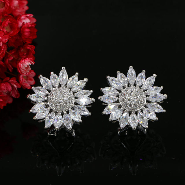 22MM Clear Cubic Zirconia Crystal Sunflower Clip on Earrings for Women Copper with Rhodium Plated