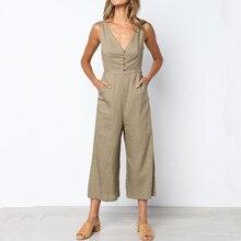 6ccd2bdcab22 Wuhaobo Summer Casual Linen Jumpsuit for Women Rompers Sleeveless V Neck  Office Bell Bottom Empire Black