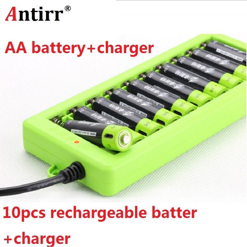 Batterie Rechargeable ZNTER 10 pièces/ensemble AA 1.5 V 2A 1250 mAh batterie au Lithium de charge USB avec câble et chargeur Micro USB