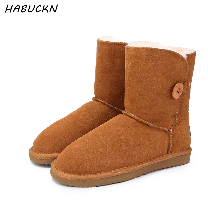 HABUCKN High Quality Genuine Cowhide Leather Australia Classic 100% Wool snow boots Women Boots Warm winter shoes for women