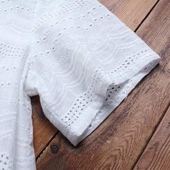 Women's Lace Blouse Fashion Embroidery Tops 2019 ZANZEA Button Short Sleeve Shirts Female Asymmetrical Blusa Plus Size Tunic 5XL 10