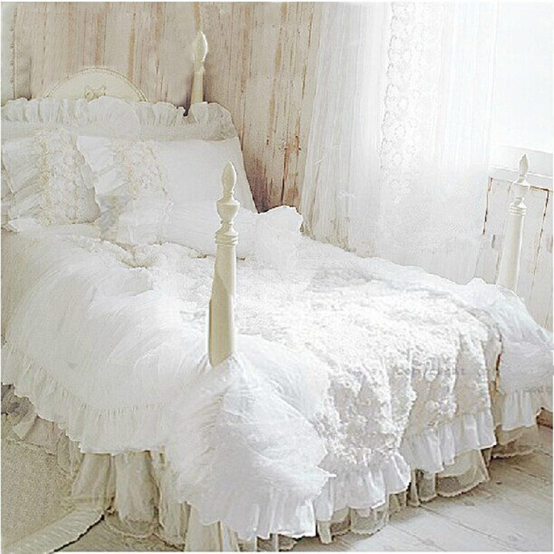 Hot  4pcs/set Romantic white lace rose bedding set princess duvet cover sets bedding for wedding bedding luxury bedroom textile