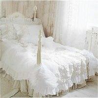 Hot 4pcs/set Romantic white lace rose bedding set princess duvet cover sets bedding for wedding bedding luxury bedroom textile