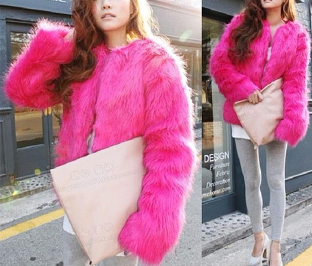 8 Colors High Imitation Faux Fox Fur Coat Jackets Winter Women Warm Thick Jacket Short Pattern Solid Outwear FUR-3115