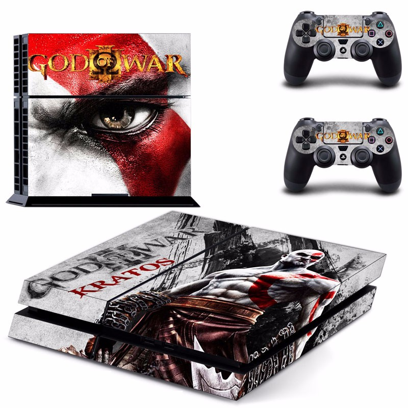 Skin Stickers for Sony PS4 Console and 2 Controllers God of War Kratos Designed image