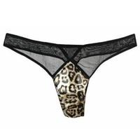Women Lace Silk G String Sexy Lady Leopard Printed Black Brown Underwear Thongs Panties Underwear Transparent Breathable