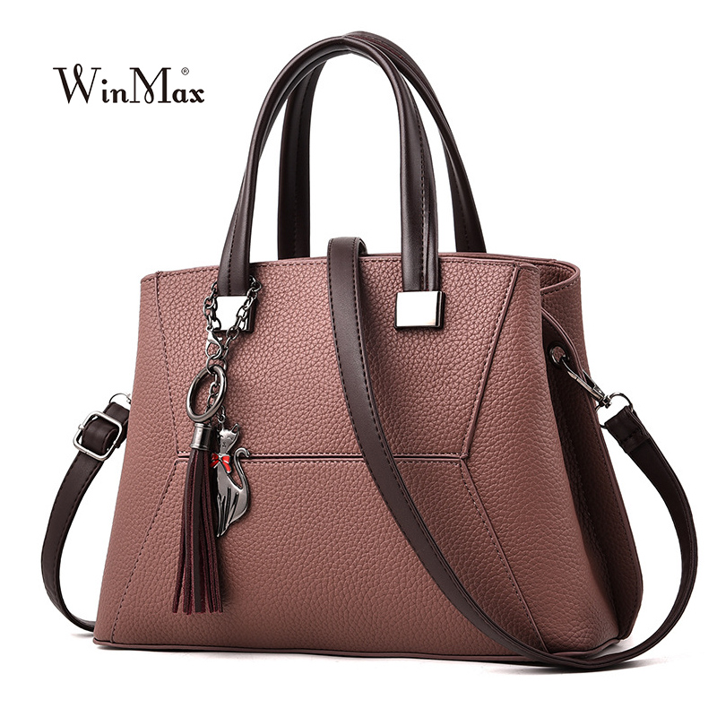 f8886c243bd3 Winmax Women Leather Handbag Vintage Shoulder Bag Female Casual Tote Bag  Quality Lady Designer Handbags Crossbody Bag sac a main