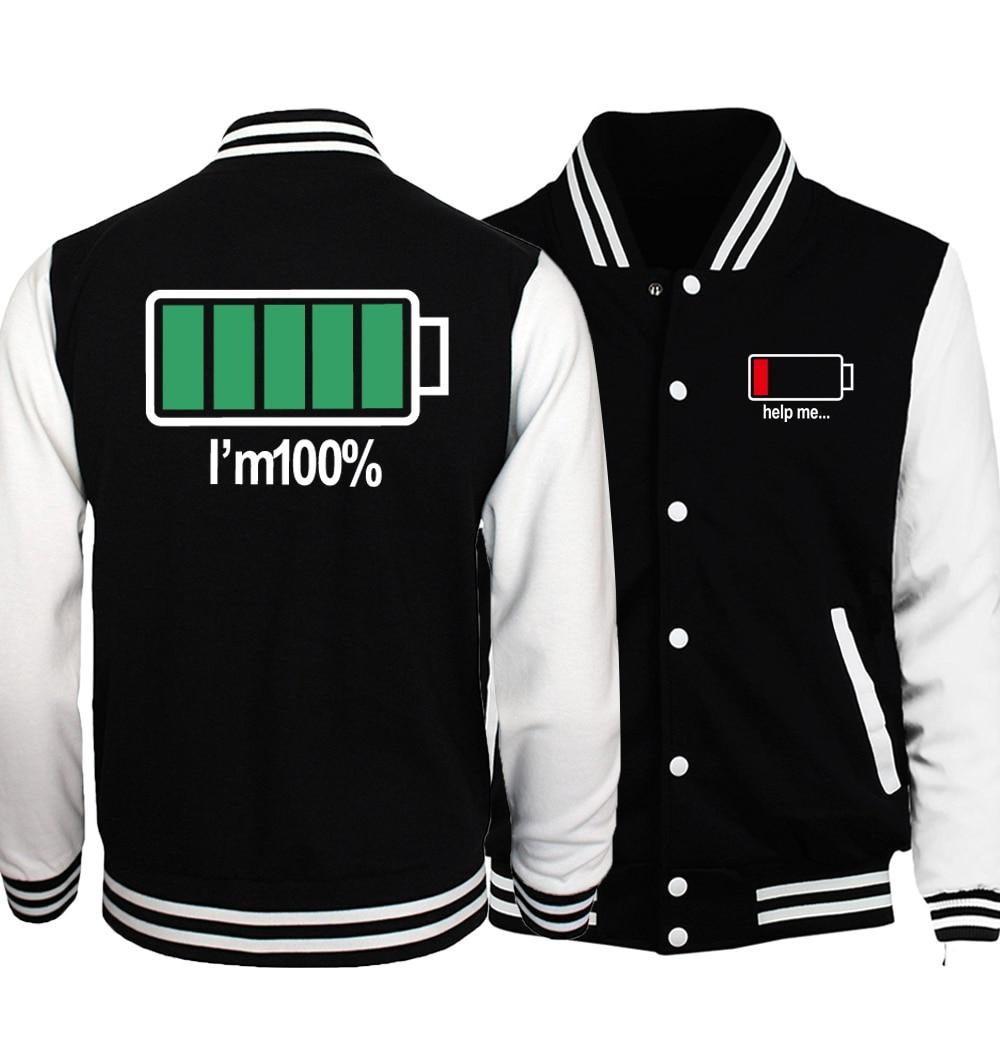 Novelty Battery I Am 100% Help Me Jacket Men Funny Coat 2018 Spring Autumn Music Punk Rock Baseball Jackets Hip Hop Streetwear