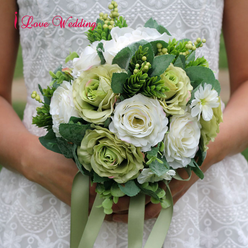 Beautiful Artificial Wedding Bouquets 2019 Green Blue Red Handmade Bride Brooch Bouquet Women bouquet de mariage Free Shipping