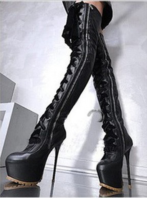 Botas feminina sexy platform shoes thigh high heel over the knee boots lace up crotch red leather rain botines motorcycle 2018