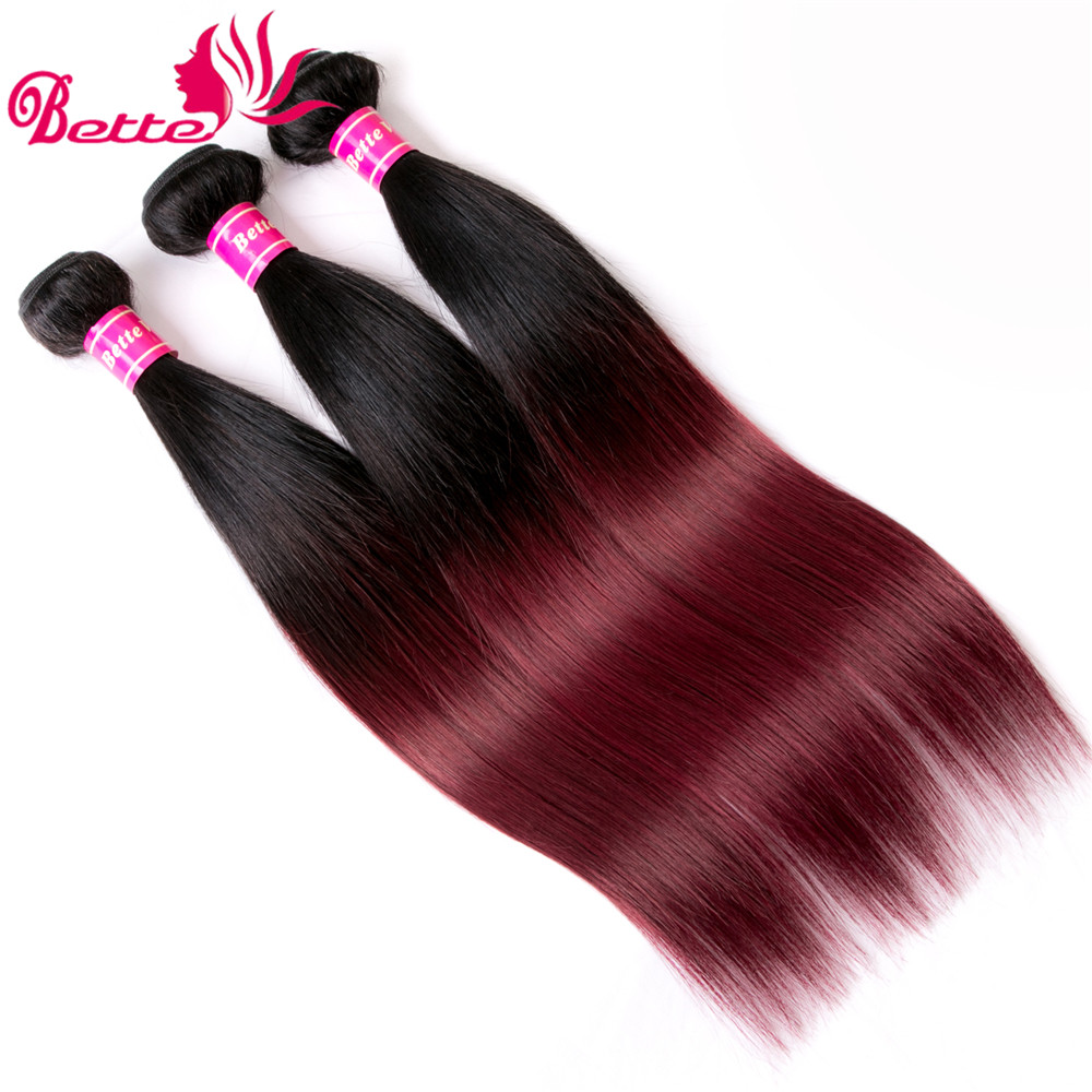 Ornate 3 Bundles Brazilian Straight Hair Ombre Burgundy Bundles Human Hair Extensions T1b/99j Non Remy 8-28 Inch Brazilian Hair
