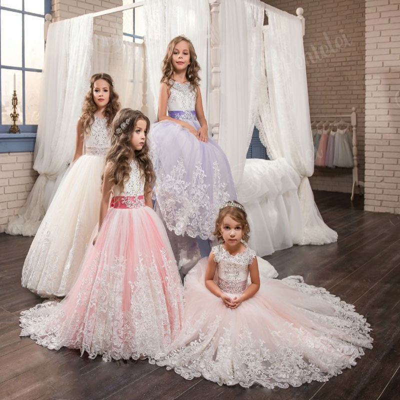 FeiYanSha Flower Girl Dresses With Bow Beaded Crystal Lace Up Applique Ball Gown First Communion Dress for Girls Customized Vest cute new long sleeves white ball gown flower girl dresses french lace beaded first communion dress with sequin bow and sash