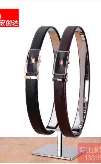 Support de ceinture en acier inoxydable double anneau montrer stand vêtements en cuir boutique vitrine accessoires d'affichage