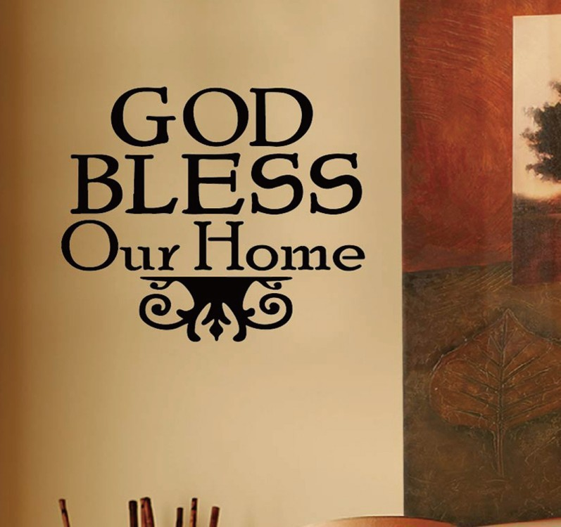 God Bless Our Home 40cmx40cm Text Wall Sticker Christian Family ...