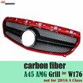 Mercedes classe A fibra de carbono de substituição aparadas AMG grill para Benz a220 w176 hatchback 2013 2014 2015 a160 a180 a200 a250 a45