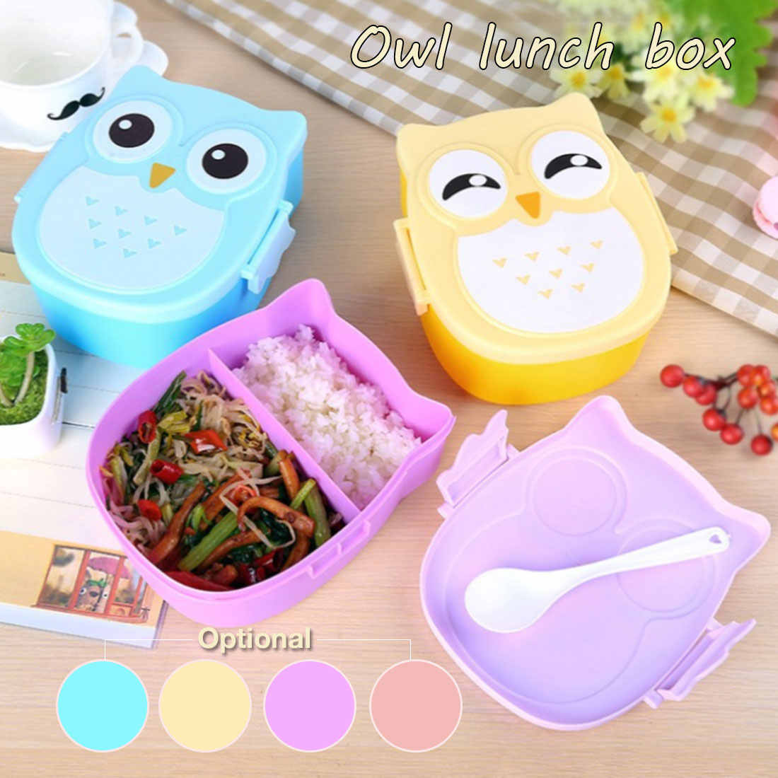 Colorful Cartoon Owl Lunch Box Food Container Picnic Storage Box Portable Bento Box optional Student Kids lunch box