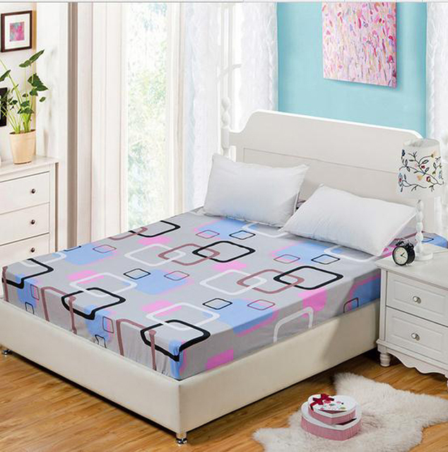 Color Lattice, Flowers 1pc Printed Fitted Sheet Mattress Cover Bed Sheets  Elastic Band Twin Full