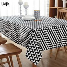 Urijk 1PC Black and White Triangle Pattern Table Cloth Fresh Rectangular Tablecloth Banquet Outdoor Home Decoration Table Cover
