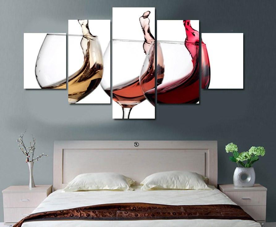 5 Pieces Canvas Prints Colored Wine Glasses Painting Wall