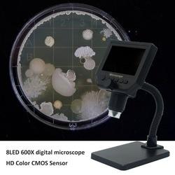 600X 8 led USB mikroskop cyfrowy ręczny mikroskop elektronowy z linijka miernicza uchwyt 1000X cyfrowy monokularowy biologiczny Mi