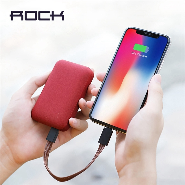 10000 mAh Power Bank for Xiaomi Powerbank,ROCK Mini Portable Ultra-thin Polymer Battery for iPhone SamSung and More bank power