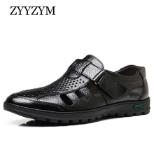 ZYYZYM Genuine Leather Summer Shoes Men Sandals Fashion Casual Male Sandalias Beach Soft Bottom Breathable Plus Size