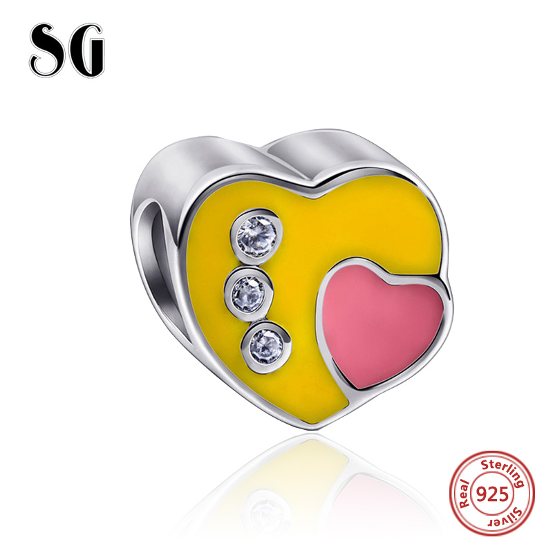 Fit Authentic pandora Charms Bracelet silver 925 original love heart Beads with enamel CZ diy fashion jewelry making women gift in Beads from Jewelry Accessories
