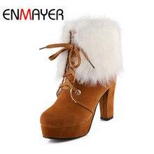 цена на ENMAYER Winter Women's Shoes Lace-Up Round Toe Woman Boots Ankle Flock Plush Lady 10cm Super High Heel Boots for Ladies Shoes